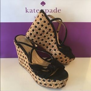 Kate Spade Black Suede and woven Wedge size 6